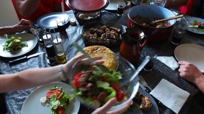 Communal kitchen, communal food. Here, we were spoiled.