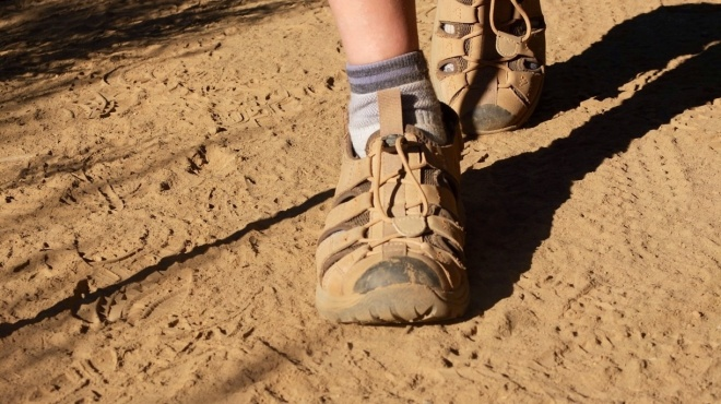 Many pilgrims experience problems with even the best hiking boots and often switch for walking sandals... So did Mel.